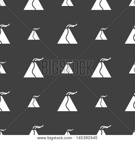 Active Erupting Volcano Icon Sign. Seamless Pattern On A Gray Background. Vector