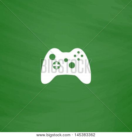 Gamepad Simple line vector button. Imitation draw with white chalk on blackboard. Flat Pictogram and School board background. Outine illustration icon