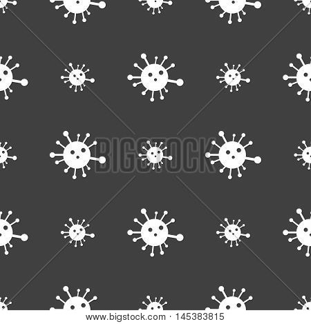 Bacteria Icon Sign. Seamless Pattern On A Gray Background. Vector