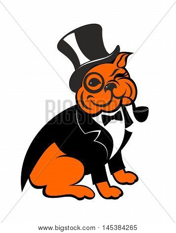 the bulldog in a dress coat and a hat the cylinder smokes a pipe. Icon