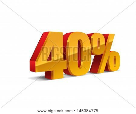 40% percent off, sale background, red-golden-yellow object 3D. Eps10 Vector.
