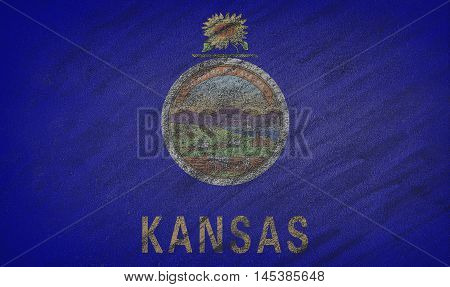 Kansas Flag Painted With Colored Chalk On A Blackboard.