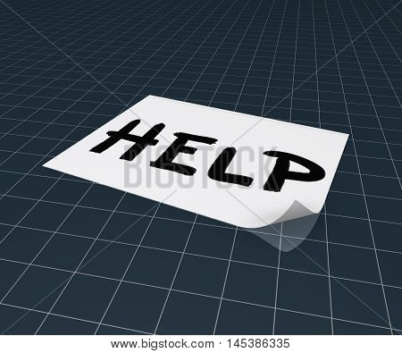 the word help on paper sheet - 3d rendering