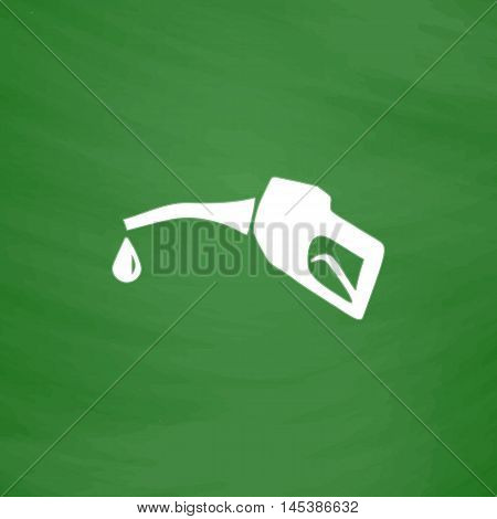 Gasoline pump nozzle Simple line vector button. Imitation draw with white chalk on blackboard. Flat Pictogram and School board background. Outine illustration icon