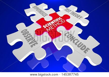 Scientific Method Science Experiment Theory Puzzle 3d Illustration