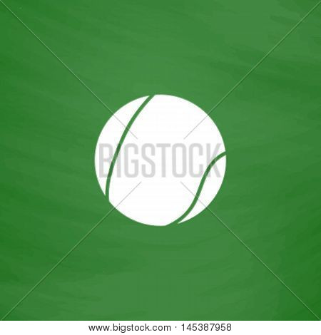 tennis ball Simple line vector button. Imitation draw with white chalk on blackboard. Flat Pictogram and School board background. Outine illustration icon