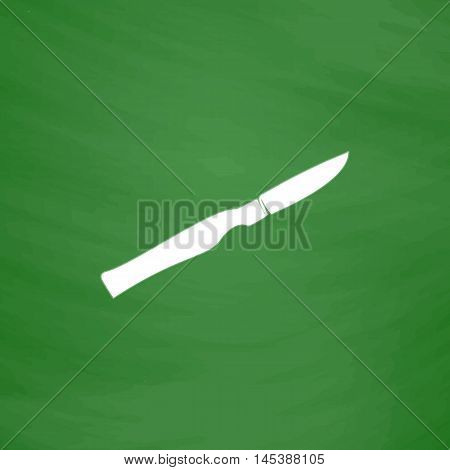 scalpel Simple line vector button. Imitation draw with white chalk on blackboard. Flat Pictogram and School board background. Outine illustration icon