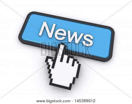 cursor clicking on the news button (3d rendering)