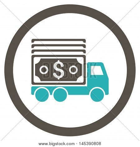Cash Lorry rounded icon. Vector illustration style is flat iconic bicolor symbol, grey and cyan colors, white background.