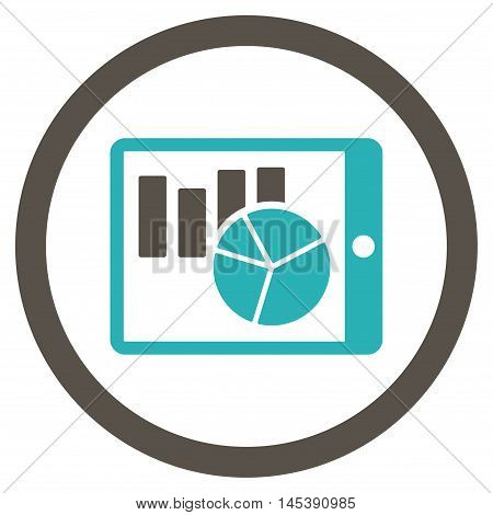 Charts on Pda rounded icon. Vector illustration style is flat iconic bicolor symbol, grey and cyan colors, white background.