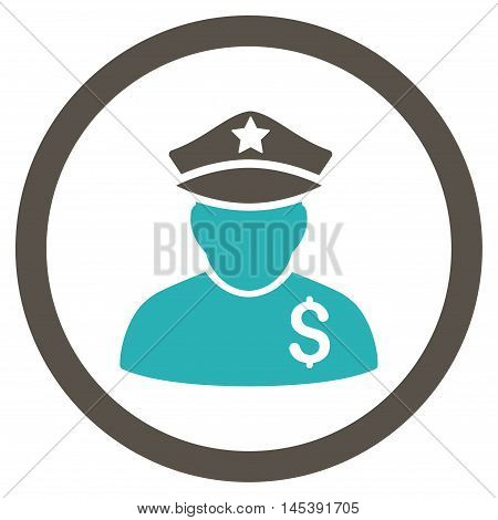Financial Policeman rounded icon. Vector illustration style is flat iconic bicolor symbol, grey and cyan colors, white background.