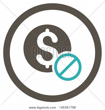 Free of Charge rounded icon. Vector illustration style is flat iconic bicolor symbol, grey and cyan colors, white background.