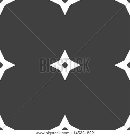 Ninja Star, Shurikens Icon Sign. Seamless Pattern On A Gray Background. Vector