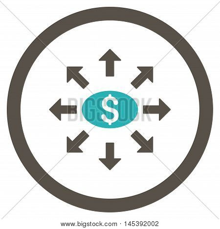 Mass Cashout rounded icon. Vector illustration style is flat iconic bicolor symbol, grey and cyan colors, white background.