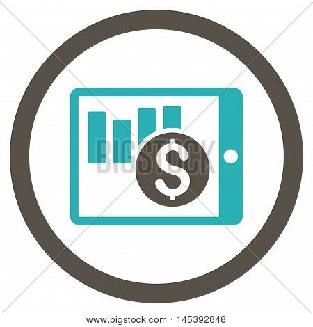 Sales Chart on Pda rounded icon. Vector illustration style is flat iconic bicolor symbol, grey and cyan colors, white background.