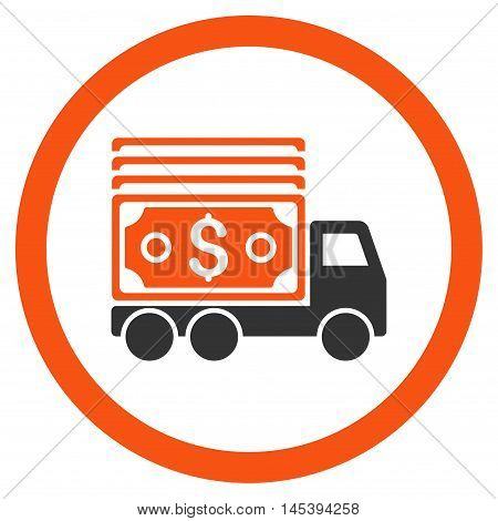 Cash Lorry rounded icon. Vector illustration style is flat iconic bicolor symbol, orange and gray colors, white background.