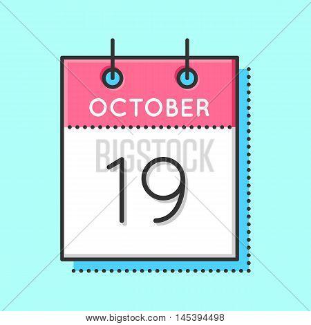 Vector Calendar Icon. Flat and thin line vector illustration. Calendar sheet on light blue background. October 19th