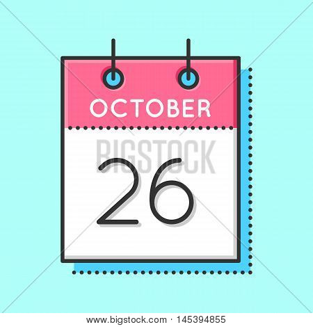 Vector Calendar Icon. Flat and thin line vector illustration. Calendar sheet on light blue background. October 26th