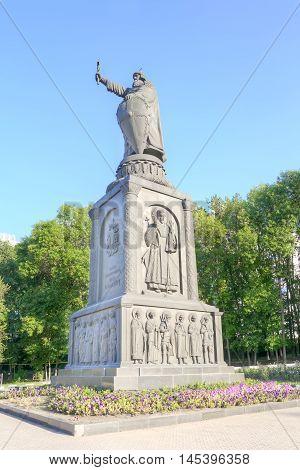 BELGOROD RUSSIA - August 30.2016: Monument to the prince to Vladimir Sviatoslavich the Great of Kievan Rus