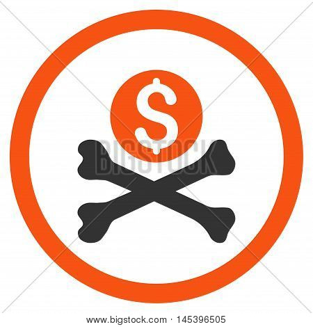 Mortal Debt rounded icon. Vector illustration style is flat iconic bicolor symbol, orange and gray colors, white background.