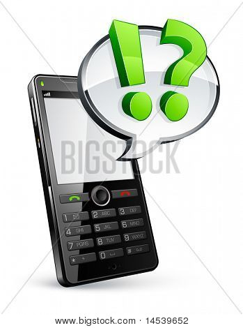 mobile phone and speech bubble