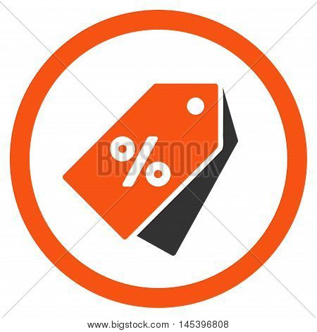 Percent Discount Tags rounded icon. Vector illustration style is flat iconic bicolor symbol, orange and gray colors, white background.