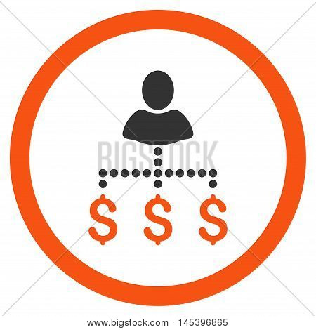 Person Payments rounded icon. Vector illustration style is flat iconic bicolor symbol, orange and gray colors, white background.