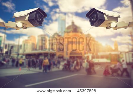 Cctv Security Camera Or Surveillance Operating On Traffic Road And Urban Scene.vintage Color