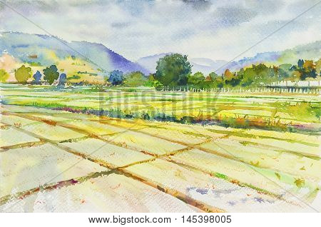 Watercolor landscape painting cornfield and mountain of emotion in clound background .Original painting