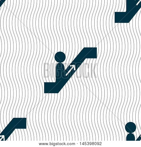 Escalator Icon Sign. Seamless Pattern With Geometric Texture. Vector