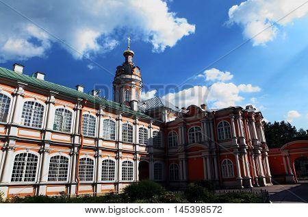 Saint Alexander Nevsky Lavra or Saint Alexander Nevsky Monastery. Church Theodore.View summer. Saint-Petersburg, Russia.