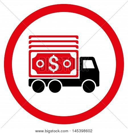 Cash Lorry rounded icon. Vector illustration style is flat iconic bicolor symbol, intensive red and black colors, white background.