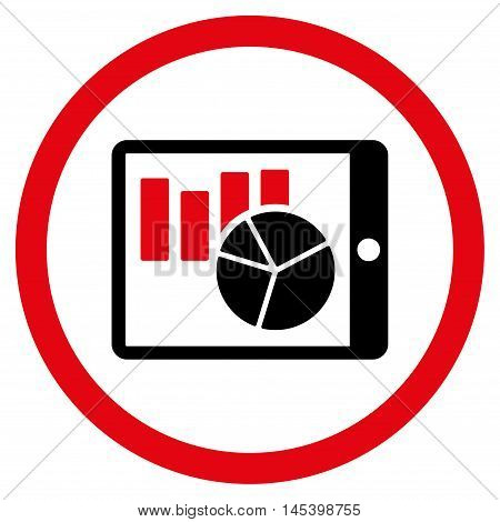 Charts on Pda rounded icon. Vector illustration style is flat iconic bicolor symbol, intensive red and black colors, white background.