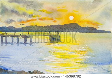 Watercolor original seascape painting sunset colorful of mountain and emotion in orange clound background