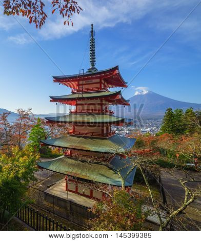 Mt. Fuji with Chureito Pagoda in autumn Fujiyoshida Japan