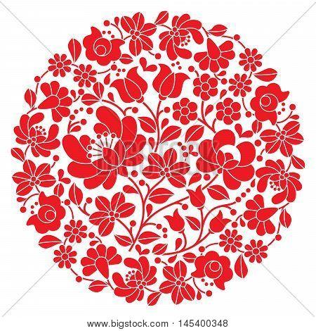 Kalocsai folk art embroidery - red Hungarian round floral folk pattern