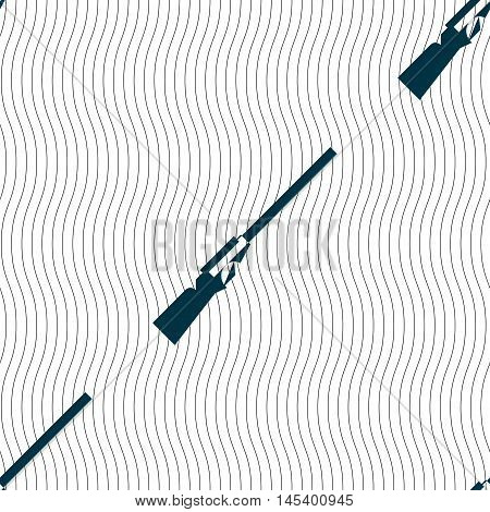 Shotgun Icon Sign. Seamless Pattern With Geometric Texture. Vector