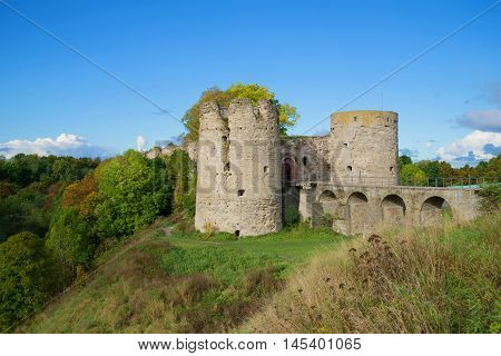 The old tower of Koporye fortress in the september landscape. Leningrad region, Russia