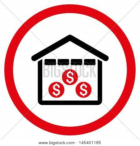 Money Depository rounded icon. Vector illustration style is flat iconic bicolor symbol, intensive red and black colors, white background.