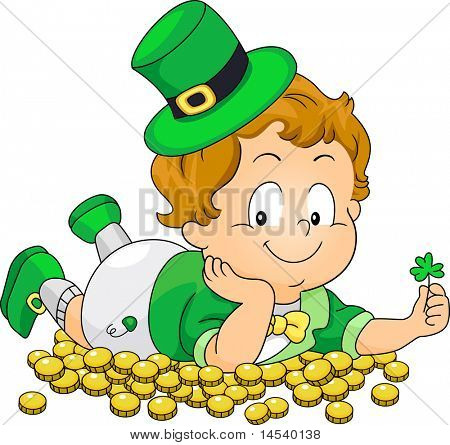 Illustration of a Kid Lying on Gold Coins