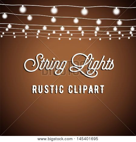 Rustic String Lights Background - Rustic String Lights Vector Clipart EPS 10