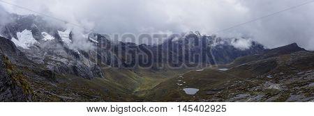 Mountain valley panorama view from Punta Union pass. Huascaran National Park Cordillera Blanca - Santa Cruz Circuit Trekking. Peru
