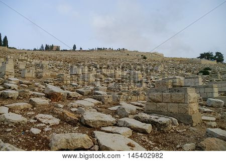 The Jewish Cemetery On The Mount Of Olives Covers All The Slope, Jerusalem, Israel