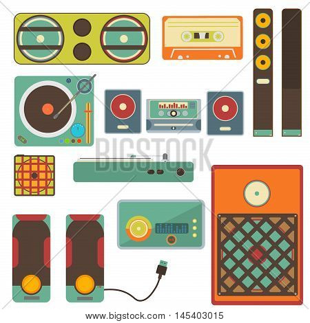 Vector set of retro audio and music systems icons loud volume entertainment. Loudspeakers isolated on white background. Speaker bass electronic musical acoustic systems stereo equipment technology.