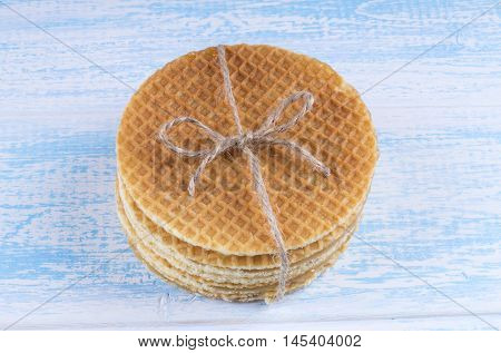 Stack Of Dutch Caramel Waffles. Strack Of Traditional Dutch Waffle Called Stroopwafel Tied With A Bo