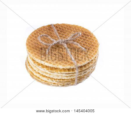 Stack Of Dutch Caramel Waffles. Streak Of Traditional Dutch Waffle Called Stroopwafel Tied Isolate.