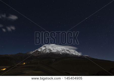 Extinct volcano Chimborazo at night the highest of Ecuador