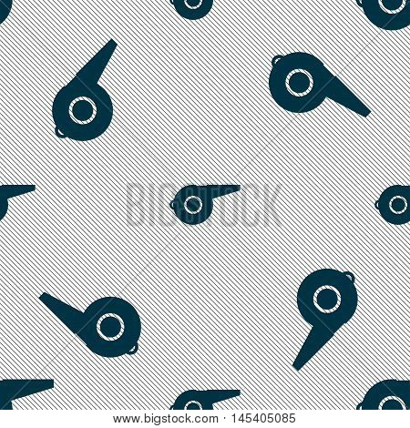Whistle Icon Sign. Seamless Pattern With Geometric Texture. Vector