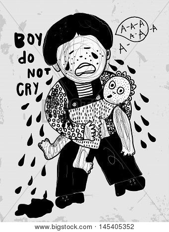 The symbolic image of a crying boy with a doll