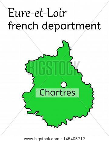 Eure-et-Loir french department map on white in vector